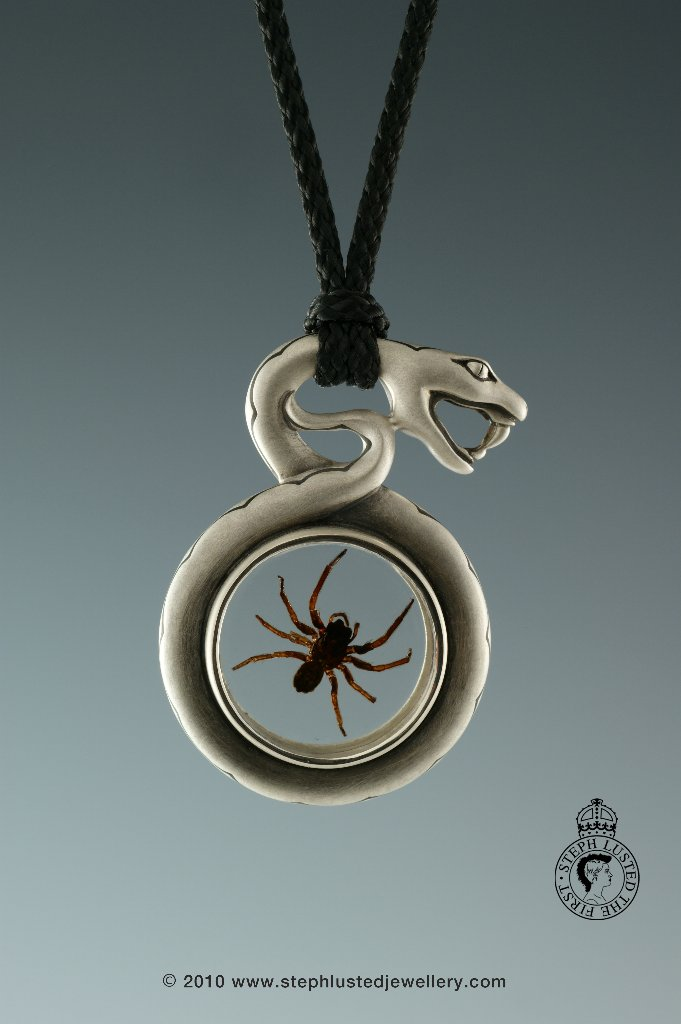 Steph_Lusted_Jewellery_Snake_with_Spider_Necklace