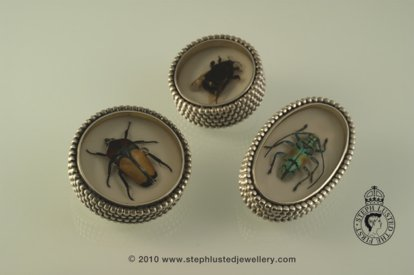 Beetle Music Box Brooches
