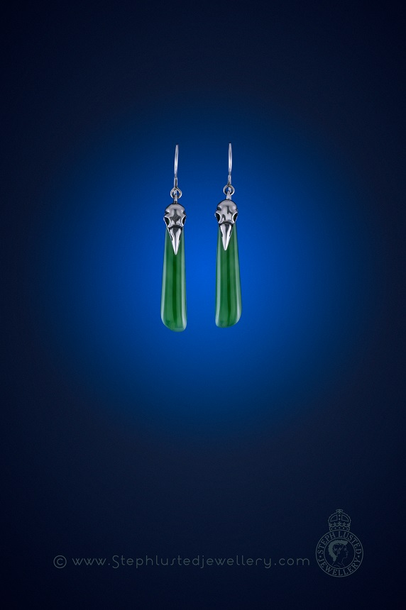 Magpie_Skulls_&_Greenstone_Earrings
