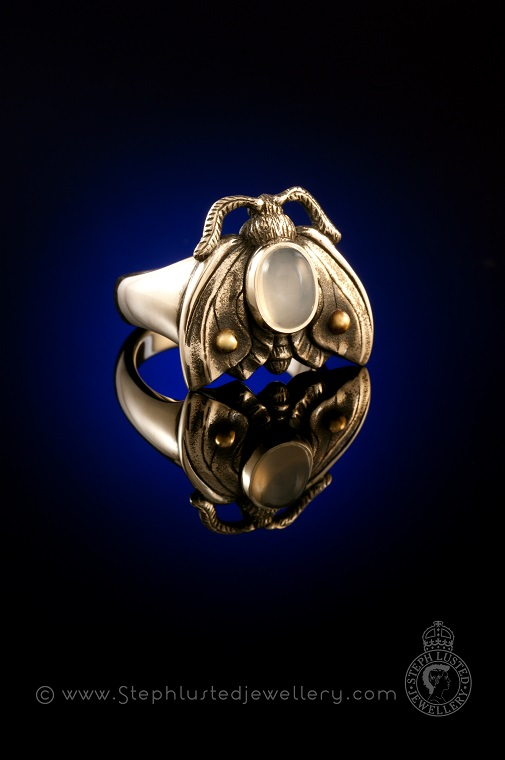 Moonstone_Moth_Ring_StephLustedJewellery