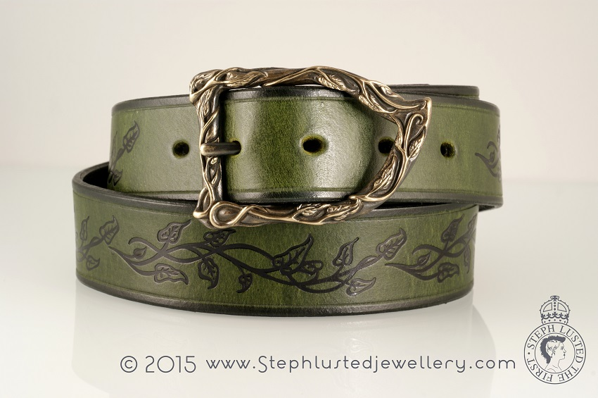 Vine_Leaves_Belt_Buckle_Green&Black