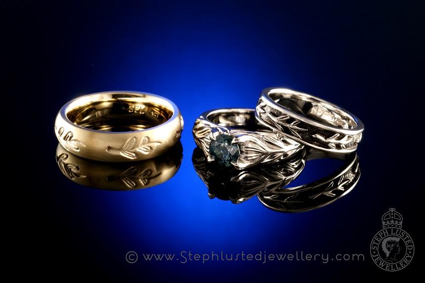 Matai_Leaves_Platinum_Wedding_Ring_Set_StephLustedJewellery