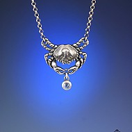 Crab with Moonstone Necklace