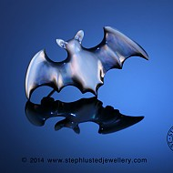 Black Mother of Pearl Bat Brooch Small