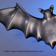 Black Mother of Pearl Bat Brooch Large