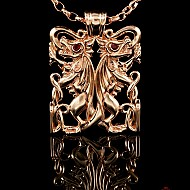 Double Dragon Pendant - Gold
