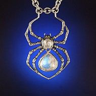 Moonstone Spider Necklace