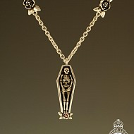 Coffin & Rose Necklace